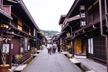 Takayama, Japan - October 21,  2019 : Tourists visiting the Old City of Takayama, Japan 報道画像