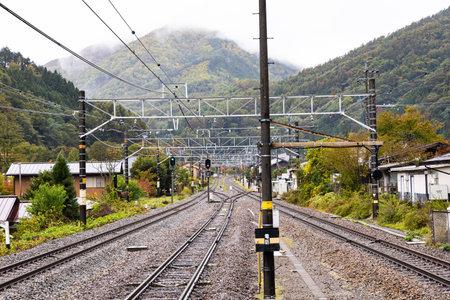 NAGANO, JAPAN - October 19, 2019 : Train station at Narai (Narai-juku) village. Editorial