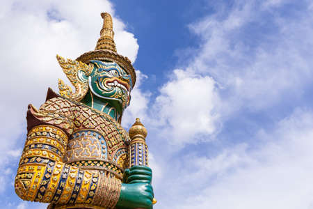 Giant Guardian of Wat Phra Kaew - Temple of the Emerald Buddha in Bangkok, Thailand.