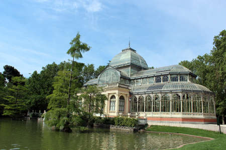centered: Crystal palace in Madrid, capital of Spain, Europe, centered in the Retiro park Editorial