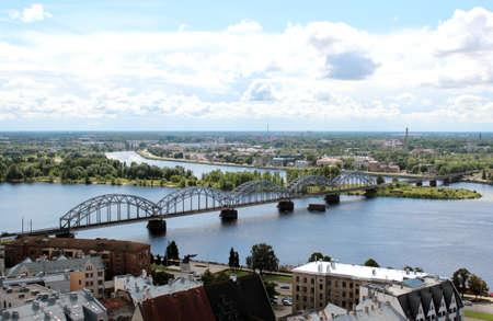 salient: The panoramic view of Riga  bridge and Daugava river , Latvia
