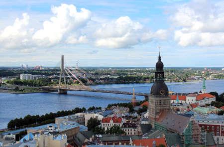 salient: The panoramic view of Riga  Old Riga and bridge , Latvia Stock Photo