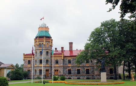 sigulda: Old castle with a tower in Sigulda, Latvia