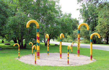 sigulda: Park in Sigulda with walking sticks, traditional souvenir from Sigulda, Latvia.
