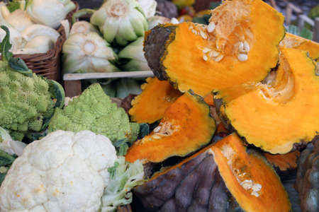 cabbage patch: Cabbage and orange pumpkin at the market