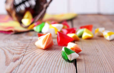 Basket with colorful sweet candies. Selective focus. Traditional Seker Bayram holidays candies photo