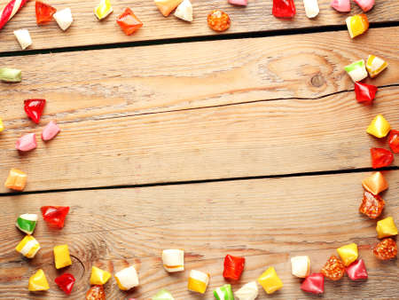Colorful sweet candies. Copy space background, top view. Traditional Seker Bayram holidays candies