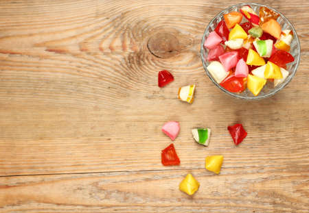 Still life, food and drink, holidays concept. Colorful sweet candies. Copy space background, selective focus, top view. Traditional candies for Seker Bayram holiday