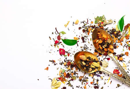 Still life, food and drink concept. Various kinds of tea on a white background. Selective focus, copy space background, top view Reklamní fotografie