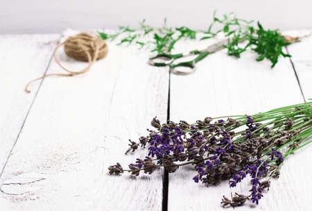 lavanda: Naturaleza muerta, comida y bebida, el concepto de salud. Mezcla de hierbas frescas sobre una mesa de madera, lavanda, salados, tomillo, tijeras y cuerda. Enfoque selectivo, fondo blanco espacio de la copia Foto de archivo