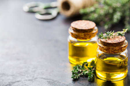 Health and beauty, still life concept. Organic essential thyme oil in a small glass jar with green leaves. Copy space background Stock Photo