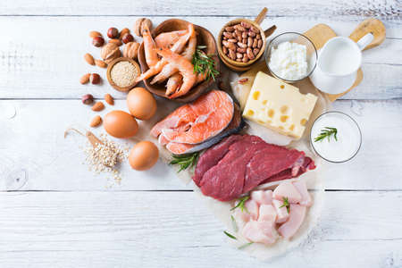 Assortment of healthy protein source and body building food. Meat beef salmon shrimp chicken eggs dairy products milk cheese yogurt beans quinoa nuts oat meal.