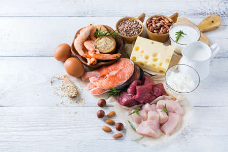 Assortment of healthy protein source and body building food. Meat beef salmon shrimp chicken eggs dairy products milk cheese yogurt beans quinoa nuts oat meal. Copy space background