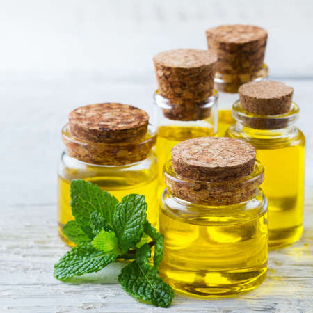 Health and beauty, still life spa concept. Assortment of organic essential oil in a small glass jar with green mint leaves on a white rustic wooden table Stock Photo