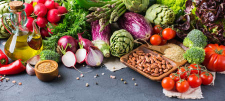 Assortment of fresh organic farmer vegetables food for cooking vegan vegetarian diet and nutrition Stock Photo