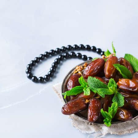 Ramadan ramazan kareem. Traditional arabic iftar dates for holiday. Copy space background Stock Photo