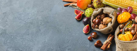 Fall autumn harvest thanksgiving holiday concept. Pumpkin apple chestnut corn nuts grapes, ripe fruit and vegetables on a black table. Copy space background
