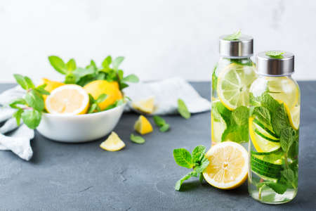 Health care, fitness, healthy nutrition diet concept. Fresh cool lemon cucumber mint infused water, cocktail, detox drink, lemonade in a glass jar for spring summer days