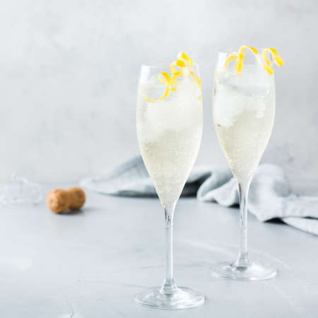 Food and drink, party holiday concept. Alcohol beverage cold cool champagne cocktail drink on a modern table for summer days 스톡 콘텐츠