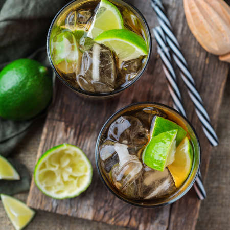 Food And Drink, Holidays Party Concept. Cuba Libre Or Long Island Iced Tea  Alcohol