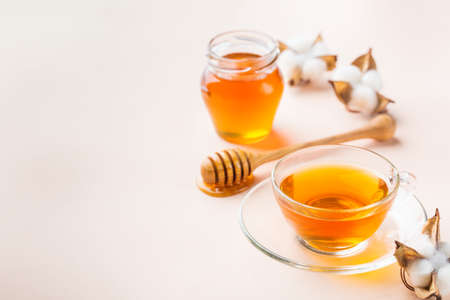 Cup of tea with honey on a trendy pastel pink, apricot background. Copy space
