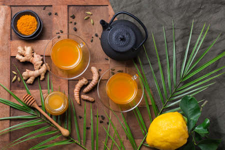 Healthy immune system booster, cold and flu remedy. Turmeric ginger lemon beverage, anti inflammatory smoothie, autumn and winter drink. Detox, clean eating, dieting concept. 写真素材 - 154891618
