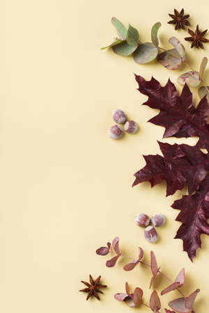 Creative autumn fall thanksgiving day composition with decorative dried leaves. Flat lay, top view, copy space, still life yellow background for greeting card. Floral, botanical concept.
