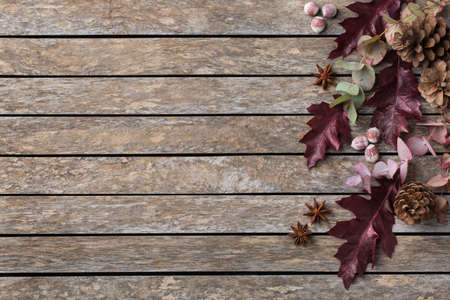 Creative autumn fall thanksgiving day composition with decorative dried leaves. Flat lay, top view, copy space, still life wooden background for greeting card. Floral, botanical concept.