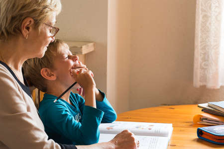 Homeschooling grandmother teaching smart boy, child at home