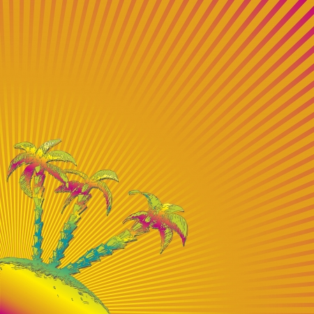 Beautiful summer sunburst. Vector background. photo