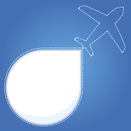 Blue background with airplane travel. Vector