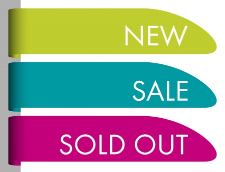 Set of paper tags for new, sold out and discounted items Stock Vector - 22441783