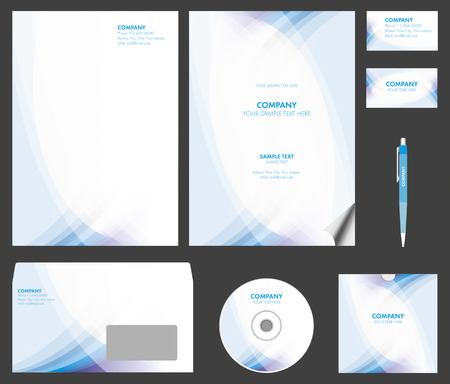 Business style  corporate identity  template 6  blank, card, pen, cd, note-paper, envelope Illustration
