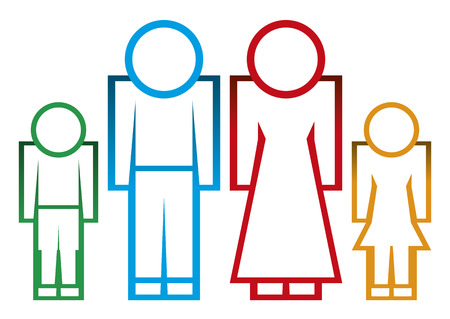 Vector silhouette family  Icon person,woman, kid,man