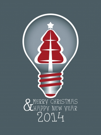 Abstract Greeting Card Happy Christmas with a Christmas tree in a light bulb  Vector