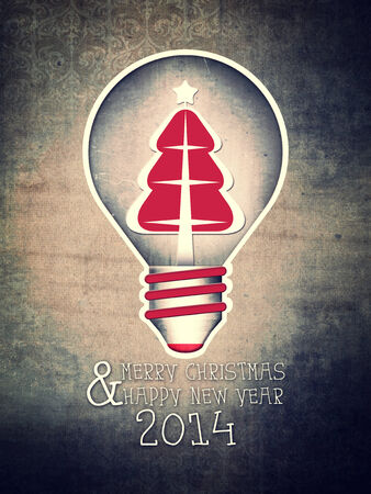 Vintage Greeting Card Happy Christmas with a Christmas tree in a light bulb.