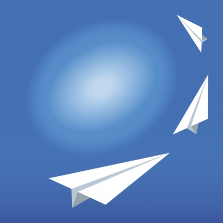 Illustration of the paper plane on the blue sky. Vector