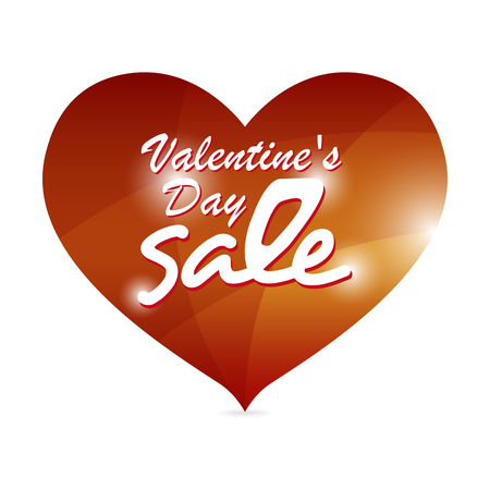 selling off: Valentine red heart banner with white text, seasonal holiday business concept.