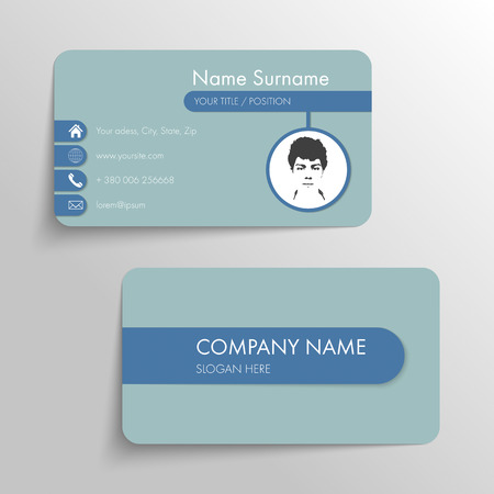 Modern business card template with flat user