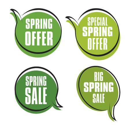 Four spring sales labels - price tags for web or print. Vector