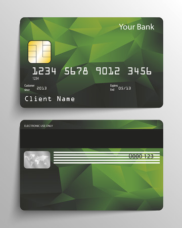 visa credit card: Realistic vector credit card