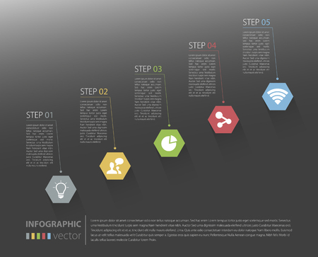 Modern business stair steps to success options on grey background Vector graphic design template Vector