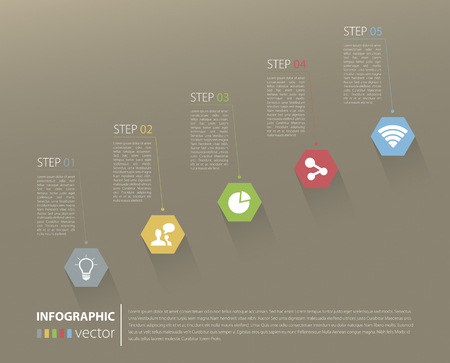 Modern business stair steps to success options on brown background Vector graphic design template Vector