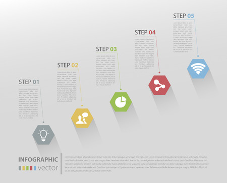 Modern business stair steps to success options on light gray background Vector graphic design template Vector