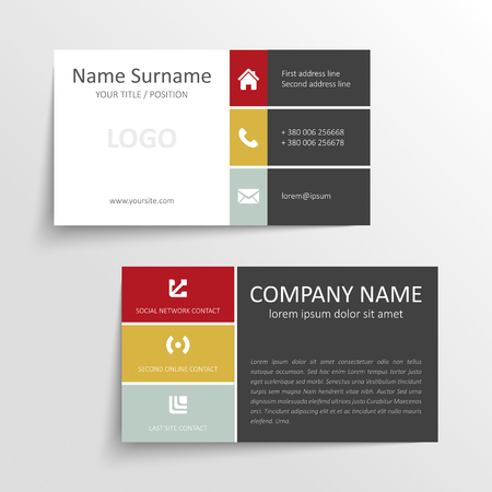 Modern simple business card template with flat user interface Illustration