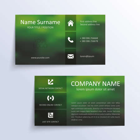 Modern simple business card template. Vector
