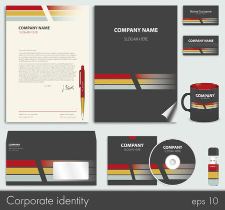 id card: Business style (corporate identity) template 7: blank, card, pen, cd, note-paper, envelope, flash memory