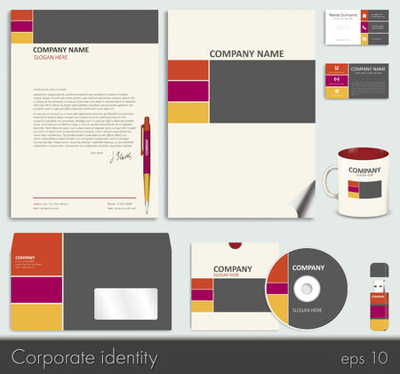 Business style (corporate identity) template 7: blank, card, pen, cd, note-paper, envelope, flash memory