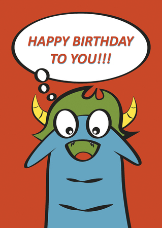 Monster birthday card design Vector