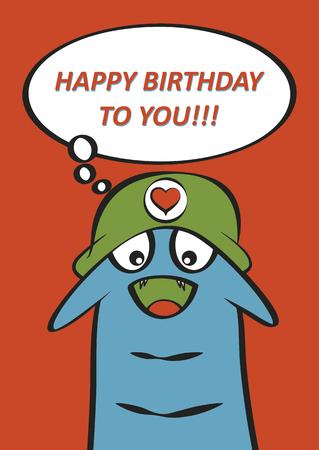 Monster birthday card design Vector